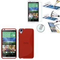 HTC Desire 820/ 820 Dual/ 820s Dual/ 820q Dual: Coque Etui Housse Pochette Accessoires Silicone Gel motif S-Line + 1 Film de protection d'écran Verre Trempé - ROUGE