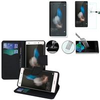 Huawei P8lite ALE-L21/ P8 lite ALE-L04: Etui Coque Housse Pochette Accessoires portefeuille support video cuir PU effet tissu + 1 Film de protection d'écran Verre Trempé - NOIR