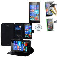 Microsoft Nokia Lumia 430 Dual SIM: Etui Coque Housse Pochette Accessoires portefeuille support video cuir PU + 1 Film de protection d'écran Verre Trempé - NOIR