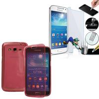 Samsung Galaxy Grand 2 SM-G7100 SM-G7102 SM-G7105 SM-G7106: Coque Etui Housse Pochette silicone gel Portfeuille Livre rabat + 1 Film de protection d'écran Verre Trempé - ROSE