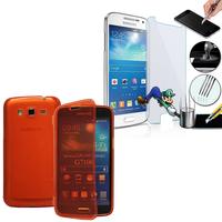 Samsung Galaxy Grand 2 SM-G7100 SM-G7102 SM-G7105 SM-G7106: Coque Etui Housse Pochette silicone gel Portfeuille Livre rabat + 1 Film de protection d'écran Verre Trempé - ROUGE