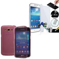 Samsung Galaxy Grand 2 SM-G7100 SM-G7102 SM-G7105 SM-G7106: Coque Etui Housse Pochette silicone gel Portfeuille Livre rabat + 1 Film de protection d'écran Verre Trempé - VIOLET