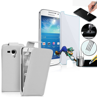 Samsung Galaxy Grand 2 SM-G7100 SM-G7102 SM-G7105 SM-G7106: Etui Coque Housse Pochette Accessoires simili cuir + 1 Film de protection d'écran Verre Trempé - BLANC