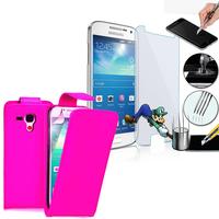 Samsung Galaxy Grand 2 SM-G7100 SM-G7102 SM-G7105 SM-G7106: Etui Coque Housse Pochette Accessoires simili cuir + 1 Film de protection d'écran Verre Trempé - ROSE