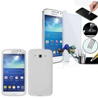 Samsung Galaxy Grand 2 SM-G7100 SM-G7102 SM-G7105 SM-G7106: Coque Etui Housse Pochette Accessoires Silicone Gel motif S-Line + 1 Film de protection d'écran Verre Trempé - BLANC