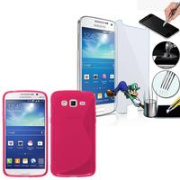 Samsung Galaxy Grand 2 SM-G7100 SM-G7102 SM-G7105 SM-G7106: Coque Etui Housse Pochette Accessoires Silicone Gel motif S-Line + 1 Film de protection d'écran Verre Trempé - ROSE