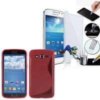 Samsung Galaxy Grand 2 SM-G7100 SM-G7102 SM-G7105 SM-G7106: Coque Etui Housse Pochette Accessoires Silicone Gel motif S-Line + 1 Film de protection d'écran Verre Trempé - ROUGE
