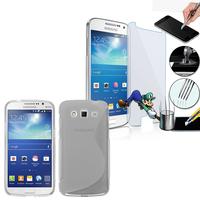 Samsung Galaxy Grand 2 SM-G7100 SM-G7102 SM-G7105 SM-G7106: Coque Etui Housse Pochette Accessoires Silicone Gel motif S-Line + 1 Film de protection d'écran Verre Trempé - TRANSPARENT