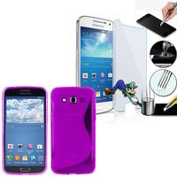 Samsung Galaxy Grand 2 SM-G7100 SM-G7102 SM-G7105 SM-G7106: Coque Etui Housse Pochette Accessoires Silicone Gel motif S-Line + 1 Film de protection d'écran Verre Trempé - VIOLET