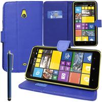 Nokia Lumia 1320: Accessoire Etui portefeuille Livre Housse Coque Pochette support vidéo cuir PU + Stylet - BLEU FONCE