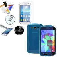 Samsung Galaxy Grand Plus/ Grand Neo/ Grand Lite I9060 I9062 I9060I i9080: Coque Etui Housse Pochette silicone gel Portfeuille Livre rabat + 1 Film de protection d'écran Verre Trempé - BLEU
