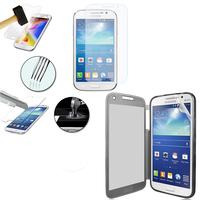 Samsung Galaxy Grand Plus/ Grand Neo/ Grand Lite I9060 I9062 I9060I i9080: Coque Etui Housse Pochette silicone gel Portfeuille Livre rabat + 1 Film de protection d'écran Verre Trempé - GRIS