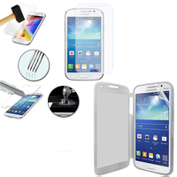 Samsung Galaxy Grand Plus/ Grand Neo/ Grand Lite I9060 I9062 I9060I i9080: Coque Etui Housse Pochette silicone gel Portfeuille Livre rabat + 1 Film de protection d'écran Verre Trempé - TRANSPARENT
