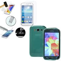 Samsung Galaxy Grand Plus/ Grand Neo/ Grand Lite I9060 I9062 I9060I i9080: Coque Etui Housse Pochette silicone gel Portfeuille Livre rabat + 1 Film de protection d'écran Verre Trempé - VERT