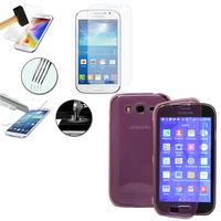 Samsung Galaxy Grand Plus/ Grand Neo/ Grand Lite I9060 I9062 I9060I i9080: Coque Etui Housse Pochette silicone gel Portfeuille Livre rabat + 1 Film de protection d'écran Verre Trempé - VIOLET