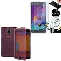 Samsung Galaxy Note 4 SM-N910F/ Note 4 Duos (Dual SIM) N9100/ Note 4 (CDMA)/ N910C N910W8 N910V N910A N910T N910M: Coque Etui Housse Pochette silicone gel Portfeuille Livre rabat + 1 Film de protection d'écran Verre Trempé - ROSE