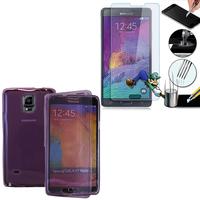 Samsung Galaxy Note 4 SM-N910F/ Note 4 Duos (Dual SIM) N9100/ Note 4 (CDMA)/ N910C N910W8 N910V N910A N910T N910M: Coque Etui Housse Pochette silicone gel Portfeuille Livre rabat + 1 Film de protection d'écran Verre Trempé - VIOLET