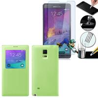 Samsung Galaxy Note 4 SM-N910F/ Note 4 Duos (Dual SIM) N9100/ Note 4 (CDMA)/ N910C N910W8 N910V N910A N910T N910M: Coque Etui Housse Pochette Plastique View Case + 1 Film de protection d'écran Verre Trempé - VERT