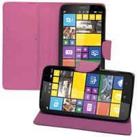 Nokia Lumia 1320: Accessoire Etui portefeuille Livre Housse Coque Pochette support vidéo cuir PU effet tissu - VIOLET