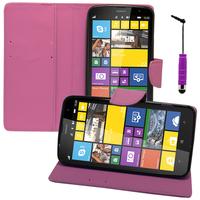 Nokia Lumia 1320: Accessoire Etui portefeuille Livre Housse Coque Pochette support vidéo cuir PU effet tissu + mini Stylet - VIOLET