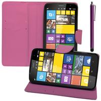 Nokia Lumia 1320: Accessoire Etui portefeuille Livre Housse Coque Pochette support vidéo cuir PU effet tissu + Stylet - VIOLET.
