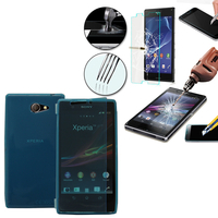 Sony Xperia M2 Aqua D2403 D2406: Coque Etui Housse Pochette silicone gel Portfeuille Livre rabat + 1 Film de protection d'écran Verre Trempé - BLEU