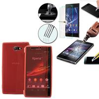 Sony Xperia M2 Aqua D2403 D2406: Coque Etui Housse Pochette silicone gel Portfeuille Livre rabat + 1 Film de protection d'écran Verre Trempé - ROSE
