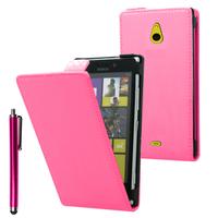 Nokia Lumia 1320: Accessoire Housse coque etui cuir fine slim + Stylet - ROSE