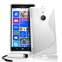 Nokia Lumia 1520: Accessoire Housse Etui Pochette Coque S silicone gel + mini Stylet - BLANC