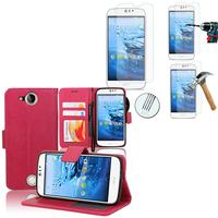 Acer Liquid Jade Z: Etui Coque Housse Pochette Accessoires portefeuille support video cuir PU + 2 Films de protection d'écran Verre Trempé - ROSE