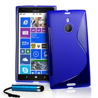 Nokia Lumia 1520: Accessoire Housse Etui Pochette Coque S silicone gel + mini Stylet - BLEU