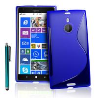 Nokia Lumia 1520: Accessoire Housse Etui Pochette Coque S silicone gel + Stylet - BLEU