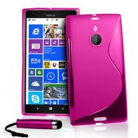 Nokia Lumia 1520: Accessoire Housse Etui Pochette Coque S silicone gel + mini Stylet - ROSE