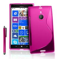 Nokia Lumia 1520: Accessoire Housse Etui Pochette Coque S silicone gel + Stylet - ROSE