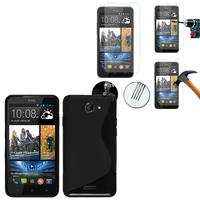 HTC Desire 516 dual sim: Coque Etui Housse Pochette Accessoires Silicone Gel motif S-Line + 2 Films de protection d'écran Verre Trempé - NOIR