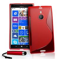 Nokia Lumia 1520: Accessoire Housse Etui Pochette Coque S silicone gel + mini Stylet - ROUGE