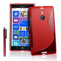 Nokia Lumia 1520: Accessoire Housse Etui Pochette Coque S silicone gel + Stylet - ROUGE
