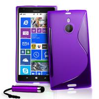 Nokia Lumia 1520: Accessoire Housse Etui Pochette Coque S silicone gel + mini Stylet - VIOLET