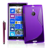 Nokia Lumia 1520: Accessoire Housse Etui Pochette Coque S silicone gel + Stylet - VIOLET