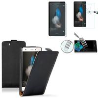 Huawei P8lite ALE-L21/ P8 lite ALE-L04 (non compatible Huawei P8): Etui Coque Housse Pochette Accessoires cuir slim ultra fine + 2 Films de protection d'écran Verre Trempé - NOIR