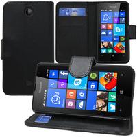 Microsoft Nokia Lumia 430 Dual SIM: Accessoire Etui portefeuille Livre Housse Coque Pochette support vidéo cuir PU - NOIR