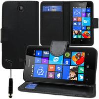 Microsoft Nokia Lumia 430 Dual SIM: Accessoire Etui portefeuille Livre Housse Coque Pochette support vidéo cuir PU + mini Stylet - NOIR