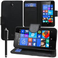 Microsoft Nokia Lumia 430 Dual SIM: Accessoire Etui portefeuille Livre Housse Coque Pochette support vidéo cuir PU + Stylet - NOIR