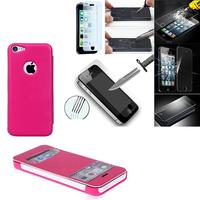 Apple iPhone 5C: Coque Etui Housse Pochette Plastique View Case + 2 Films de protection d'écran Verre Trempé - ROSE