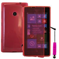 Nokia Lumia 520/ 525: Accessoire Coque Etui Housse Pochette silicone gel Portefeuille Livre rabat + mini Stylet - ROSE
