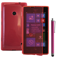 Nokia Lumia 520/ 525: Accessoire Coque Etui Housse Pochette silicone gel Portefeuille Livre rabat + Stylet - ROSE