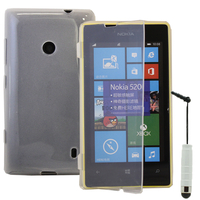 Nokia Lumia 520/ 525: Accessoire Coque Etui Housse Pochette silicone gel Portefeuille Livre rabat + mini Stylet - TRANSPARENT