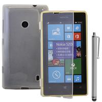 Nokia Lumia 520/ 525: Accessoire Coque Etui Housse Pochette silicone gel Portefeuille Livre rabat + Stylet - TRANSPARENT