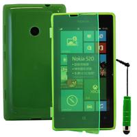 Nokia Lumia 520/ 525: Accessoire Coque Etui Housse Pochette silicone gel Portefeuille Livre rabat + mini Stylet - VERT