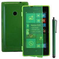 Nokia Lumia 520/ 525: Accessoire Coque Etui Housse Pochette silicone gel Portefeuille Livre rabat + Stylet - VERT